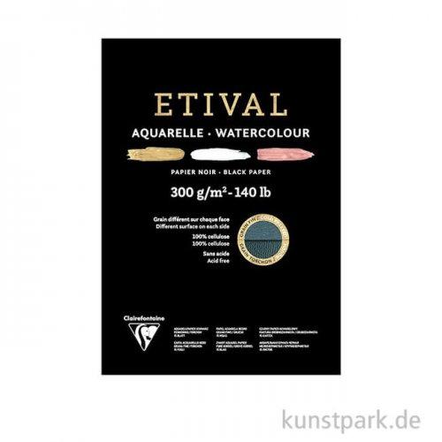 Clairefontaine ETIVAL Aquarellblock - Schwarz, 300 g, 15 Blatt DIN A5