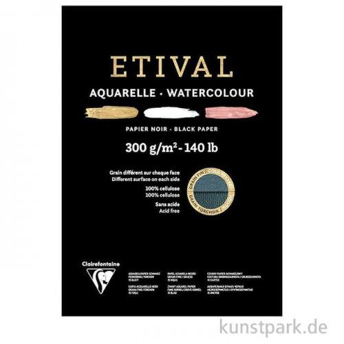 Clairefontaine ETIVAL Aquarellblock - Schwarz, 300 g, 15 Blatt
