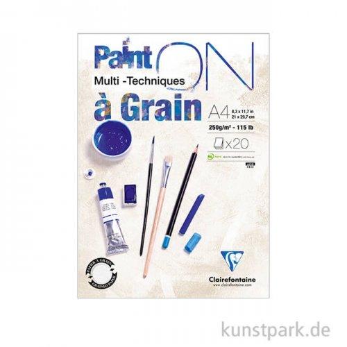 Clairefontaine - Paint'ON Papier à Grain, 250 g, 20 Blatt DIN A4