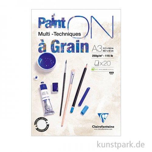 Clairefontaine - Paint'ON Papier à Grain, 250 g, 20 Blatt