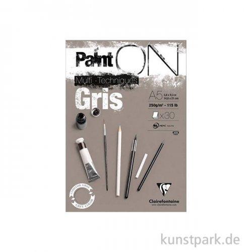 Clairefontaine - Paint'ON Papier - Gris, 250 g, 20 Blatt DIN A5