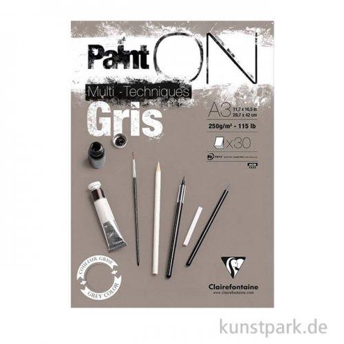 Clairefontaine - Paint'ON Papier - Gris, 250 g, 20 Blatt
