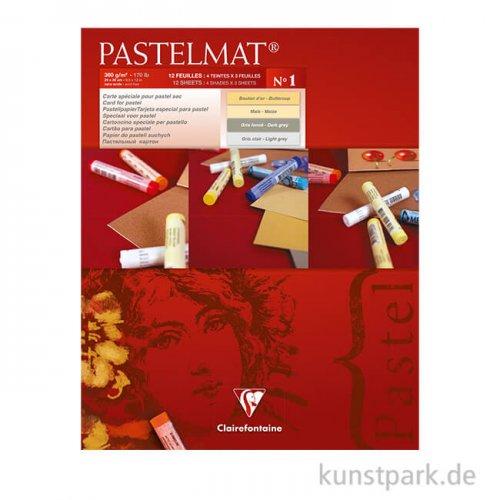 Clairefontaine Pastelmat - 4-farbig Gelb, Hellgelb, Grau, Hellgrau, 24 x 30 cm