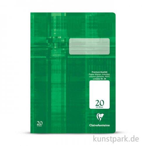 Clairefontaine Schulheft DIN A4, 16 Blatt, 90g, Lin. 20, blanco