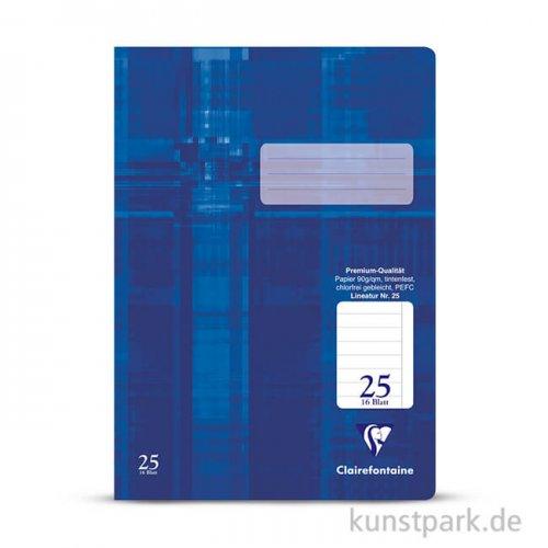 Clairefontaine Schulheft DIN A4, 16 Blatt, 90g, Lin. 25, liniert mit Rand