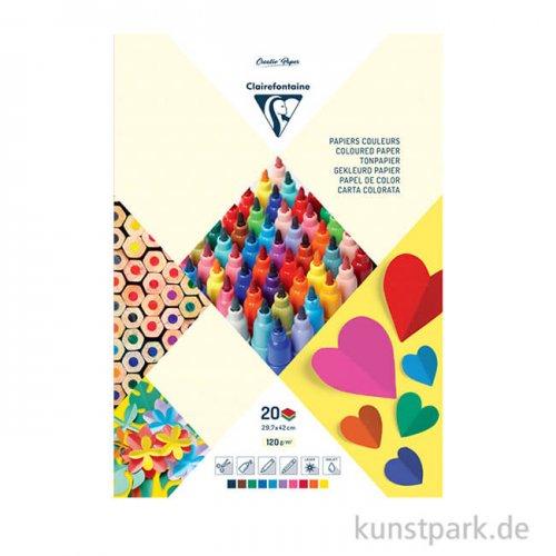 Clairefontaine Tonzeichenpapier, 10 Farben sortiert, 120 g, 20 Blatt