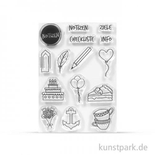 Clear Stamps für Journals - Kalender Mix-4, DIN A7 als Silikonstempel