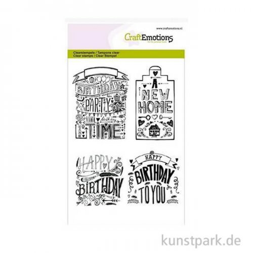 CraftEmotions Clear Stamps - Birthday & New Home, DIN A6