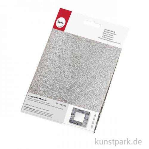 Craquelé-Mosaik - Spiegel, 15x20 mm, 1 Platte Silber