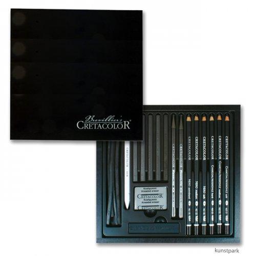 Cretacolor BLACK BOX - 20teiliges Kohleset in Holzkassette