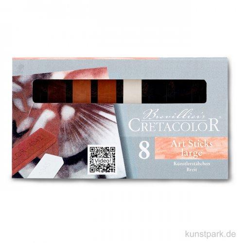 Cretacolor Künstlerstäbchen breit, 8 Stück sortiert
