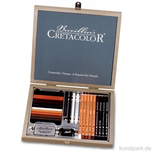 Cretacolor PASSION BOX - 25-teiliges Skizzierset in Holzkassette