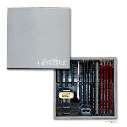 Cretacolor Silver Box Holzkassette, 17 teiliges Graphitset