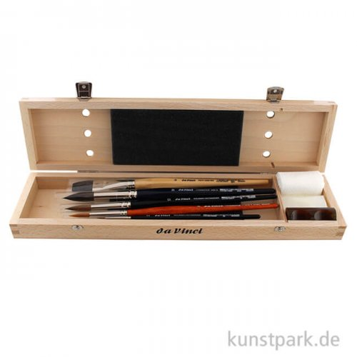 da Vinci Aquarellpinsel Set 5 Pinsel im Holzkasten, Zubehör
