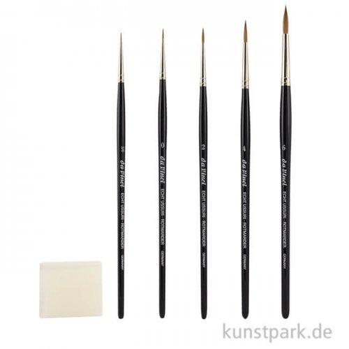 da Vinci ROTMARDER Set, 5 feine Pinsel, Kernseife, allround