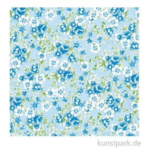 DECOPATCH Papier 569 Blumen Blau, 3 Stück