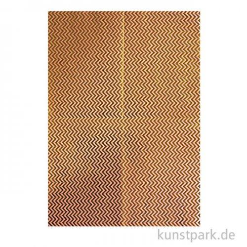 Decoupage Papier - Metallisch Gold Zickzack, 3 Stück