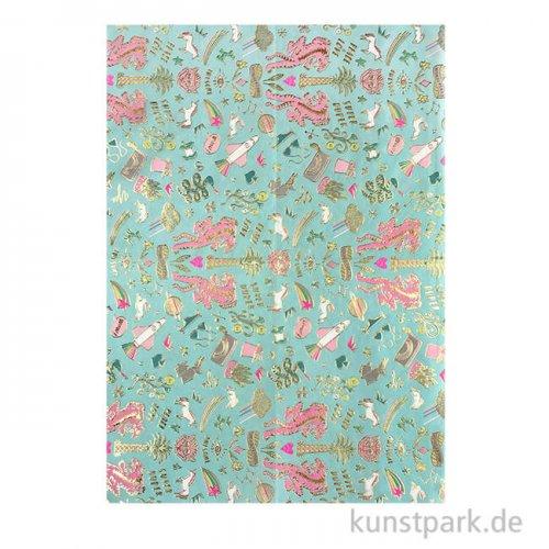 Decoupage Papier - Wonderland Mint, 3 Stück