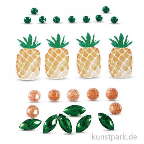 Deko-Sticker - Tropic-Ananas, 26 Stück sortiert