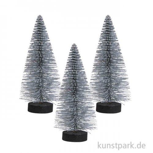 Deko-Tannenbaum beglimmert - silber 15 cm - 3 Stück