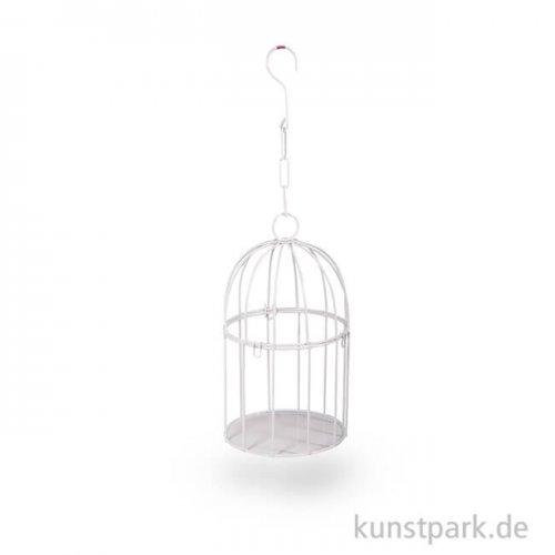 Deko-Vogelkäfig aus Metall - Rund, Weiß