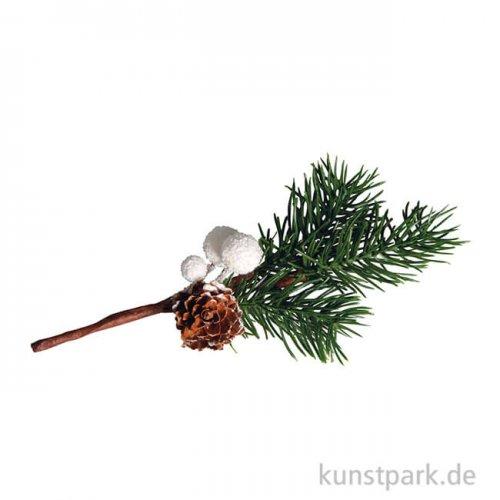 Deko-Zweig mit weißen Beeren, 18 cm