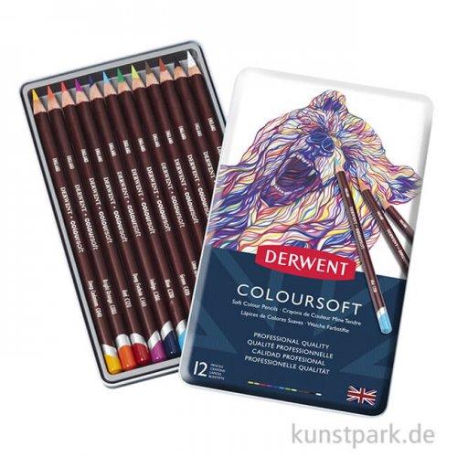 Derwent COLOURSOFT, 12 weiche Farbstifte im Metalletui