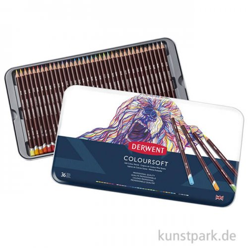 Derwent COLOURSOFT, 36 weiche Farbstifte im Metalletui