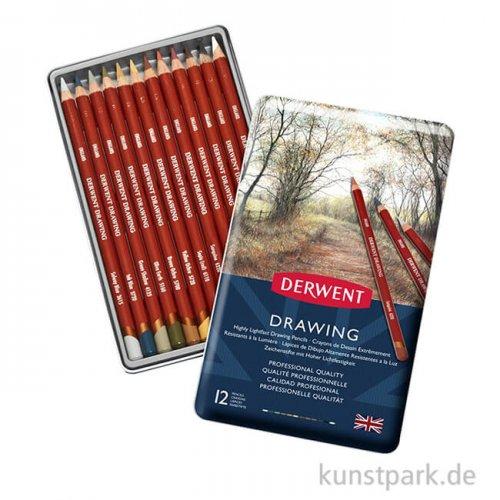 Derwent DRAWING, 12 weiche Sepia-Stifte im Metalletui