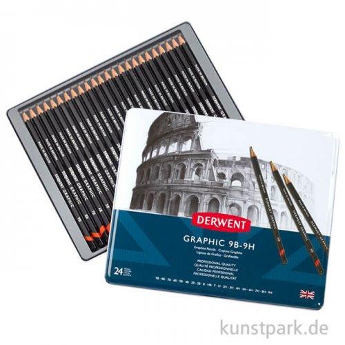 Derwent GRAPHIC 24 Bleistifte im Metalletui, Härte 9B bis 9H