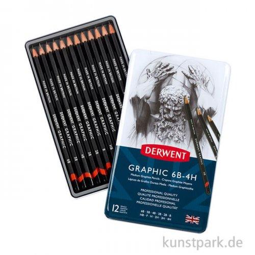 Derwent GRAPHIC Designer 12 Bleistifte im Metalletui, Härte 6B bis 4H