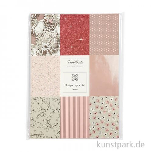 Design-Papier Block - Braun-Beige-Weiß-Rosa, 24 Blatt, 120 g