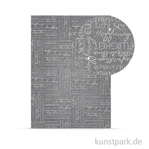 Designkarton Kondolenz- Wörter, DIN A4, 200 g