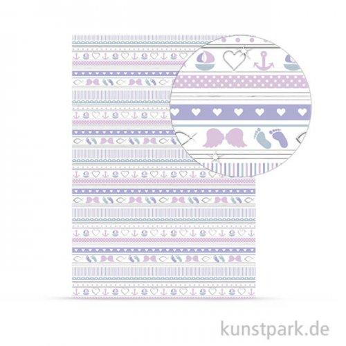 Designkarton Meine Taufe - Mädchen Streifen, DIN A4, 200 g