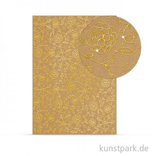 Designkarton Selection - Blumen gold, DIN A4, 250 g