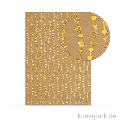Designkarton Selection - Herzen gold, DIN A4, 250 g