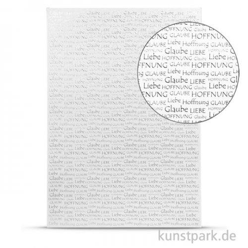 Designkarton Silber - Schrift, DIN A4, 200 g