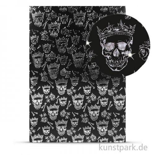 Designkarton Skull - Silber, DIN A4, 200g
