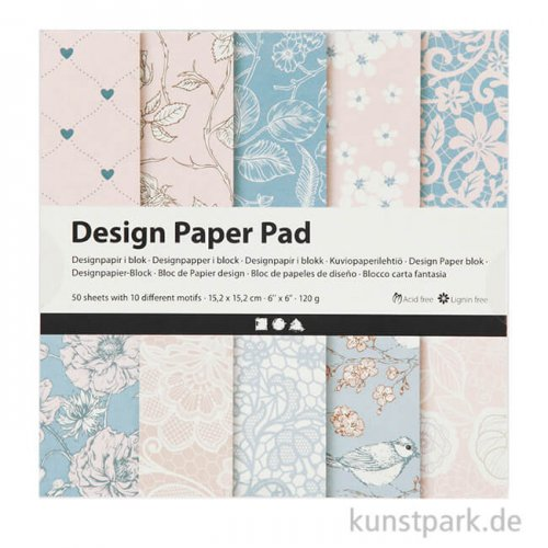 Designpapier-Block Rosa 50 Blätter mit 10 Motiven
