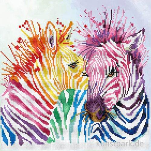 DIAMOND DOTZ Regenbogen Zebras, Größe etwa 45 x 45 cm