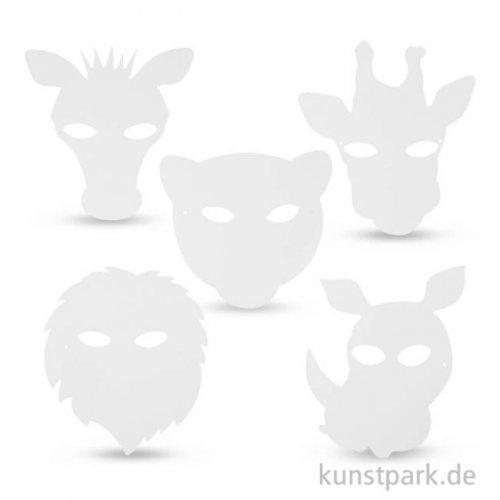 Dschungeltier-Masken aus kräftigem Karton, 22,5-25 cm, 16 Stück sortiert