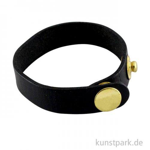 Echtleder-Armband mit Druckverschluss gold 21,5x1,5x0,2 cm