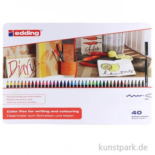 edding 1300 Colourpen Set, Metallschachtel mit 40 Farben