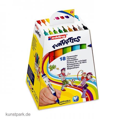 edding 14 FUNTASTICS Kinder-Fasermaler Set mit 18 Farben