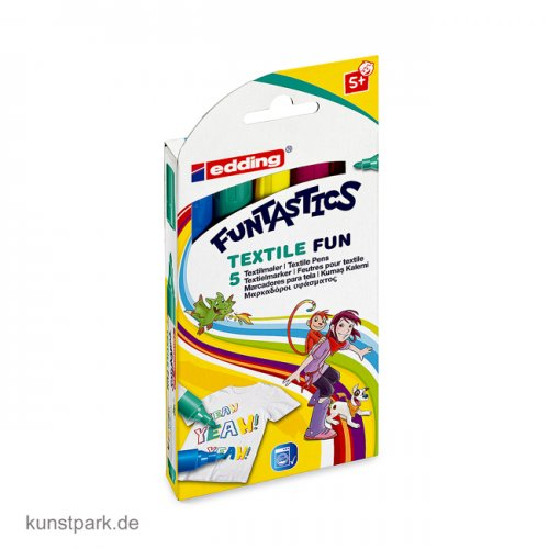 edding 17 FUNTASTICS Kinder-Fasermaler Set - Textile Fun mit 5 Farben