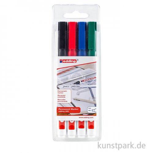 edding 400 Permanent-Marker Set, Etui mit 4 Farben