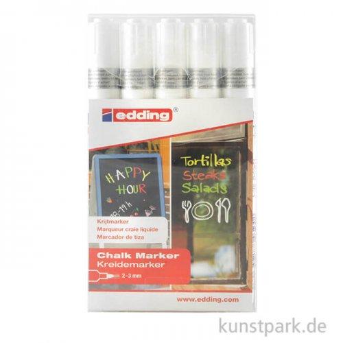 edding 4095 Kreide-Marker Set weiß, Etui mit 5 Markern