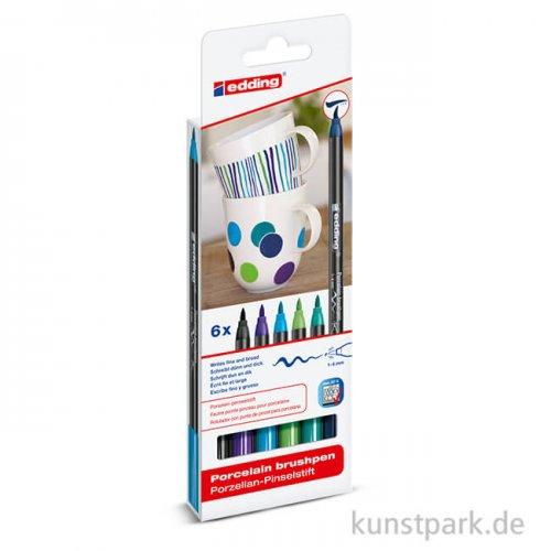 edding 4200 Porcelain Brushpen 6er Set - Cool Colours