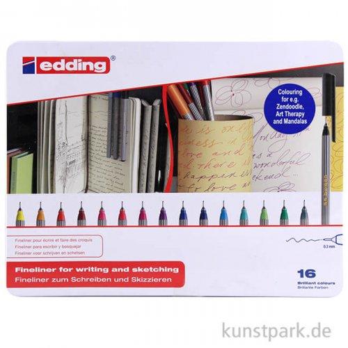 edding 55 Fineliner Set, Metallschachtel mit 16 Farben