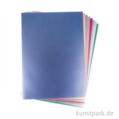 Effektpapier Metallic Mix - DIN A4, Bunt, 250g, 8 Farben, 8 Blatt